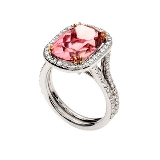 18k White Gold Cushion-cut Pink Tourmaline and 7/8ct TDW Diamond Halo Ring (G-H, VS1-VS2)