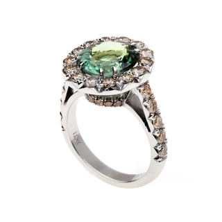 18k White Gold Oval-cut Mint Green Tourmaline and 1 7/8ct TDW Champagne Diamond Halo Ring
