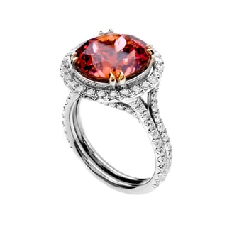 18k Two-tone Gold Round-cut Pink Tourmaline and 1 1/10ct TDW Diamond Halo Ring (G-H, VS1-VS2)