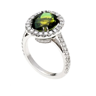18k White Gold Oval-cut Yellow/Green Tourmaline and 3/4ct TDW Diamond Halo Ring (G-H, VS1-VS2)