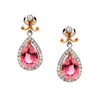 18k Two-tone Gold Pink Pear-cut Tourmaline and 3/4ct TDW Diamond Earrings (G-H, VS1-VS2)