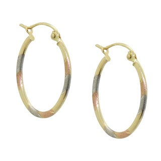 Gioelli 14k Tri-color Gold Satin and Diamond-cut Oval Hoop Earrings