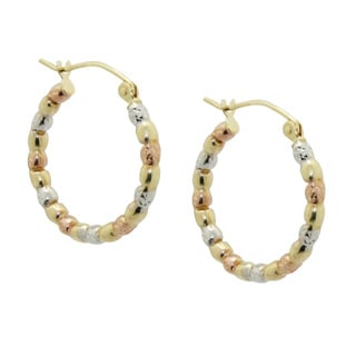 Gioelli 14k Tri-color Gold Twist Puff Hoop Earrings
