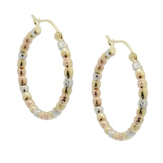 Gioelli 14k Tri-color Gold Shiny Twist Puff Hoop Earrings