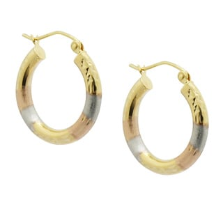 Gioelli 14k Tri-color Satin and Diamond-cut Hoop Earrings