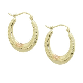 Gioelli 14k Tri-color Gold Diamond-cut Beaded-style Hoop Earrings