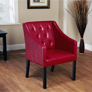 Simple Living Tufted Red Wine Faux Leather Guest Chair