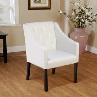 Tufted White Faux Leather Guest Chair