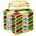 Goldtone Enamel and Gemstone Christmas Gift Box Pin Brooch