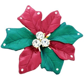 Red/ Green Gemstone Christmas Star Poinsettia Pin Brooch