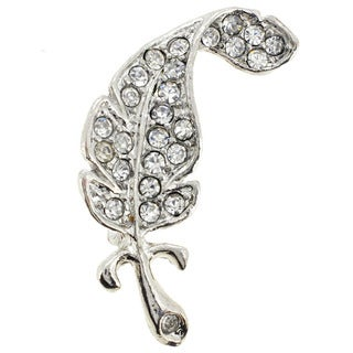 Silvertone Gemstone Leaf Pin Brooch