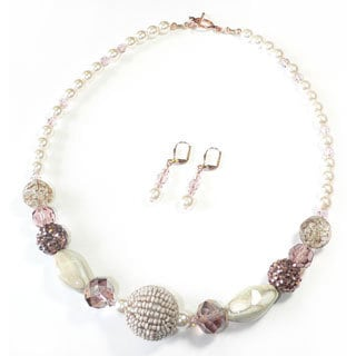 Palmtree Gems 'Whipped Cream' Necklace and Earring Set