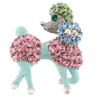 Silvertone Enamel and Gemstone Multicolor Poodle Dog Pin