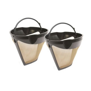 GoldTone 10-12 Cup Reusable #4 Cone Style Coffee Filters/ Finger Grip, (Pack of 2)
