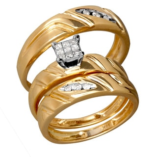 14k Two-tone Gold 1/3ct Diamond Trio 'His & Hers' Matching Wedding Ring Set (G-H, SI1-SI2)