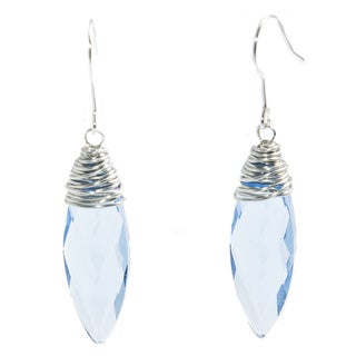 Elongated Wire-Wrapped Light Blue Earrings (China)