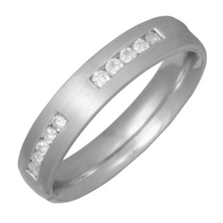 14k White Gold 1/4ct Channel-set Diamond Wedding Band (G-H, SI1-SI2)