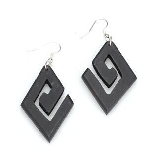 Eco-friendly Wooden Geometric Dangle Earrings (India)