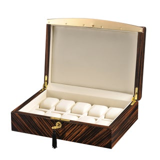 Volta 10-piece Ebony Wood Watch Case with Gold Trim and Leather Interior