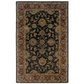 Traditional Charcoal/ Rust Wool Oriental Rug (5' x 7'9)