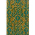 Transitional Blue Floral Wool Rectangle Rug (5' x 7'9)