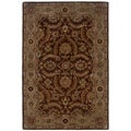 Traditional Medium Brown/ Beige Wool Oriental Rug (5' x 7'9)