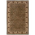 Traditional Green/ Ivory Wool Oriental Rug (5' x 7'9)