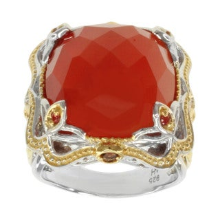 Michael Valitutti Two-tone Carnelian, Garnet and Orange Sapphire Ring