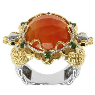 Michael Valitutti Two-tone Orange Chalcedony, Chrome Diopside and Blue Sapphire Ring