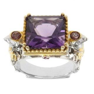 Michael Valitutti Two-tone Amethyst, Rhodolite and Ruby Ring