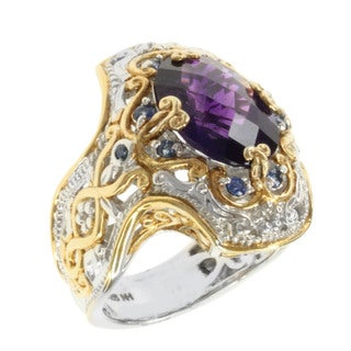 Michael Valitutti Two-tone Oval-cut Amethyst and Blue Sapphire Ring