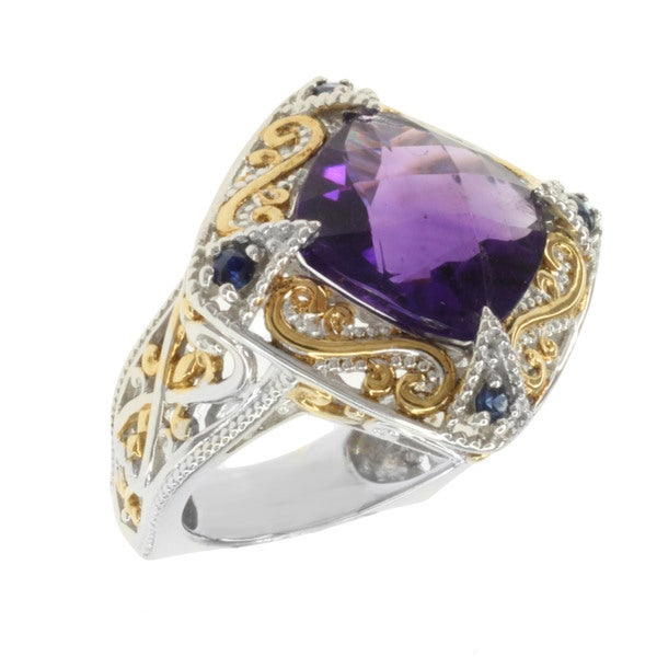Michael Valitutti Two-tone Cushion-cut Amethyst and Blue Sapphire Ring