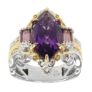 Michael Valitutti Two-tone Amethyst, Rhodolite and Pink Sapphire Ring