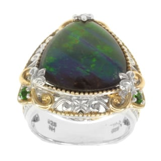 Michael Valitutti Two-tone Ammolite and Emerald Ring
