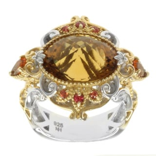 Michael Valitutti Two-tone Amber Quartz, Fire Citrine and Orange Sapphire Ring