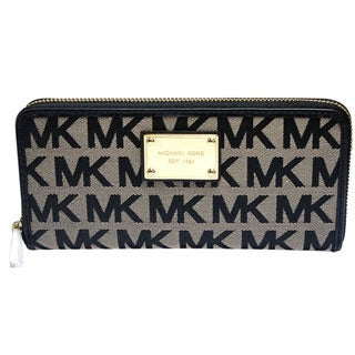 Michael Kors Logo Zip Continental Wallet Black