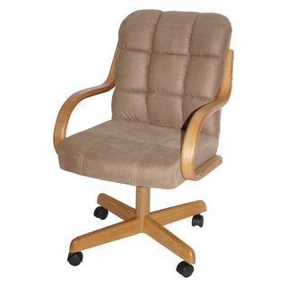 Brown-upholstered Casual Rolling Dining Chair