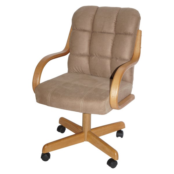 brown upholstered casual rolling dining chair 15644130 overstock