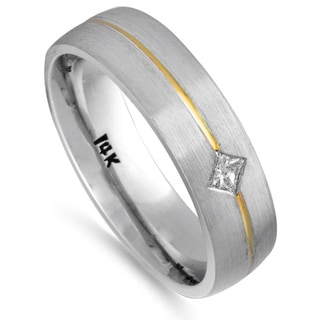 14k Two-tone Gold 1/10ct TDW Comfort Fit Diamond Wedding Band (G-H, SI1-SI2)