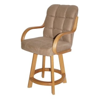 Casual Oversized Cushion Seat and Wood Base Barstool 31-inch High 360-degree Swivel Stool