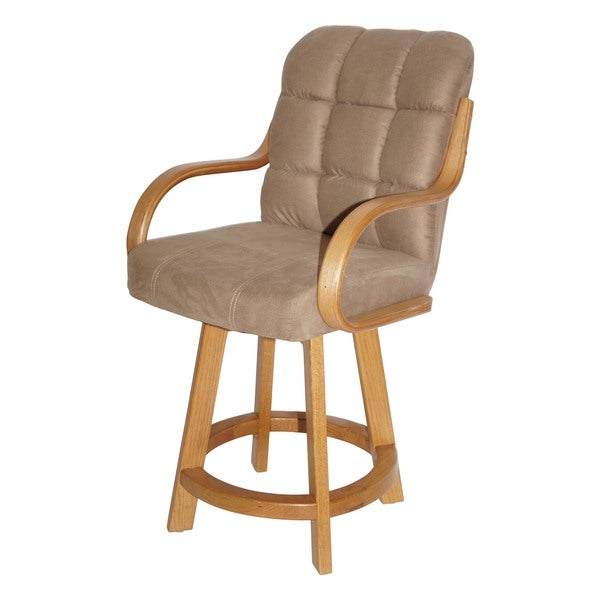 Casual Oversized Cushion Seat and Wood Base 24-inch High 360-degree Swivel Stool