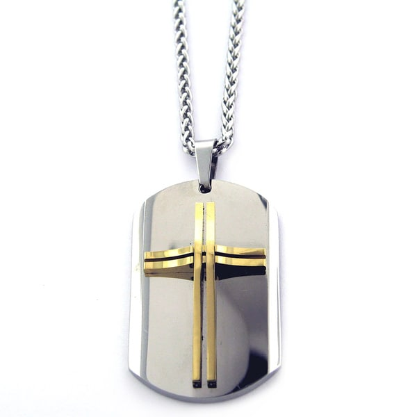 Two-tone Stainless Steel Cross Dog Tag Necklace