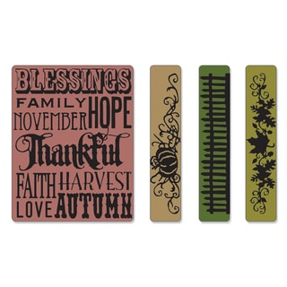Sizzix Texture Fades Thankful Background/ Borders Embossing Folders (4 Pack)