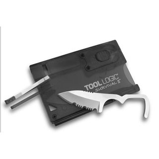 Tool Logic Survival Card with Fire Starter Light Charcoal