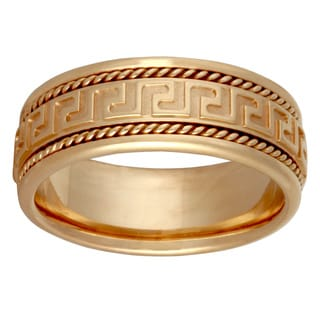 14k Yellow Gold Men's Handmade Greek Key Comfort-fit Wedding Band