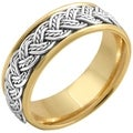14k Two-tone Gold Handmade Woven Comfort-fit Wedding Band