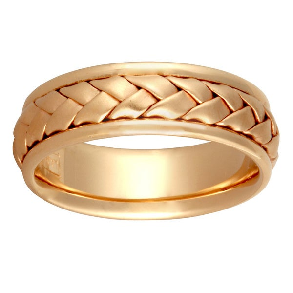 14k Yellow Gold Handmade Braided Design Comfort-fit Wedding Band