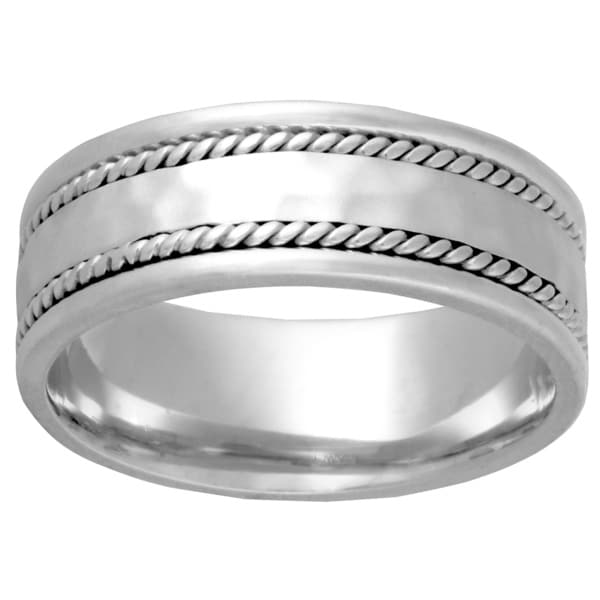 14k White Gold Double Twist Comfort-fit Wedding Band