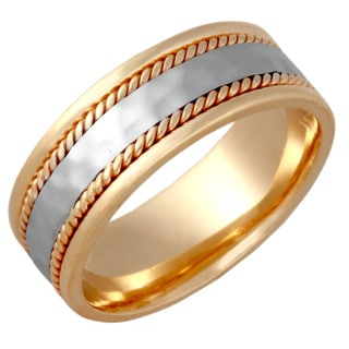 14k Two-tone Gold Handmade Double Twist Comfort-fit Hammered Wedding Band