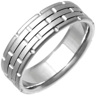14k White Gold Handmade Comfort-fit Wedding Band
